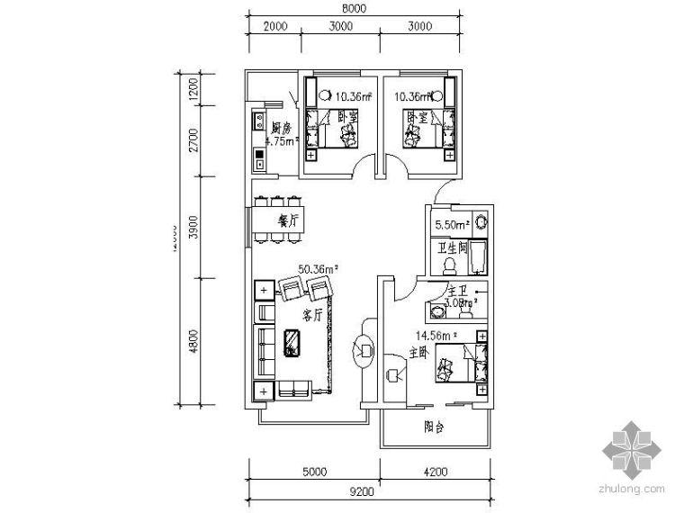 18个住宅户型CAD平面布置图