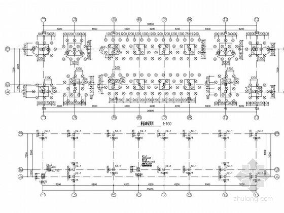 [长沙]一层框架结构加油站站房结构施工图(含建筑图钢框架罩棚)-框架柱平面布置图