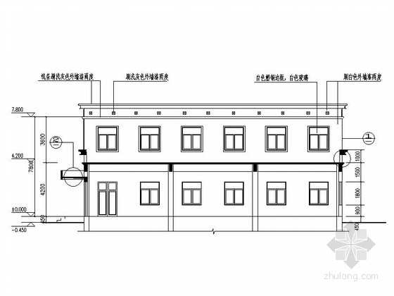 两层简洁高级中学食堂剖面图