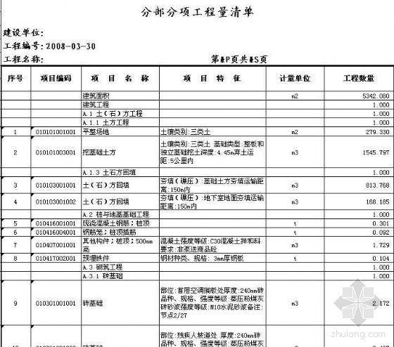 江苏某小高层土建装饰清单报价(2008.3)