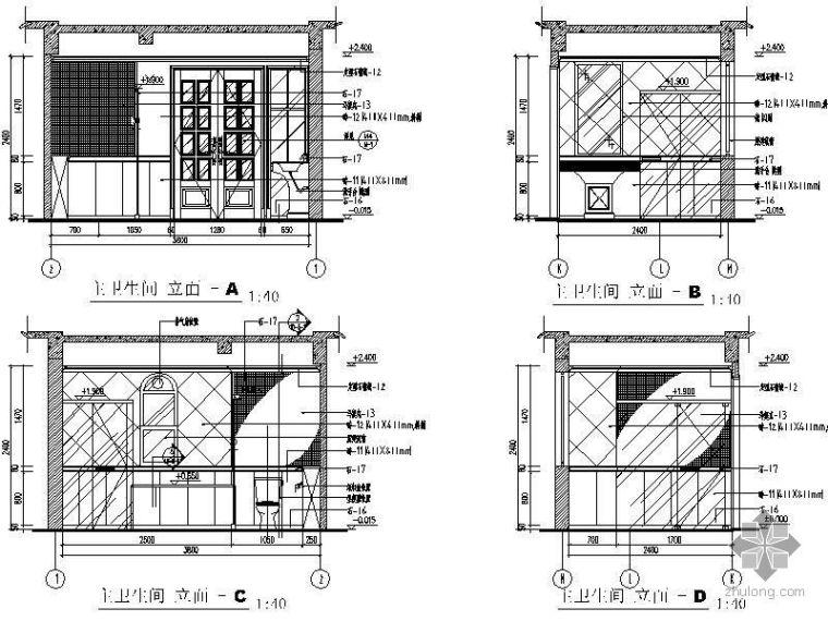 法式别墅卫生间立面图