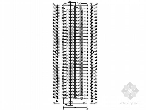 [贵州]高层框剪结构面砖外墙商用住宅建筑施工图(含多套方案)-高层框剪结构面砖外墙商用住宅建筑剖面图