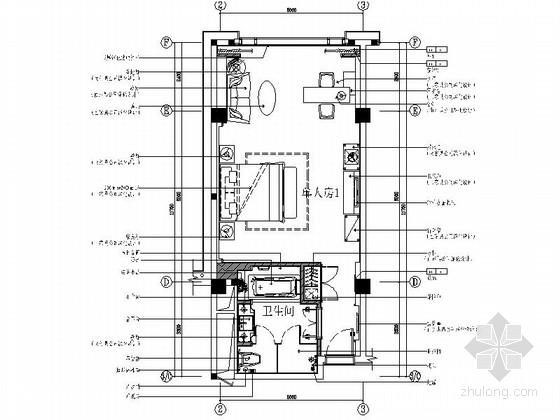 [江苏]豪华酒店贵宾楼单人房室内装修设计cad施工图