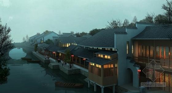 [湖北]新中式风湖翔水镇酒店规划设计方案文本(知名设计院)-新中式风湖翔水镇酒店规划效果图