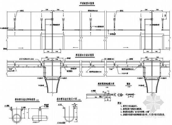 铁路客运专线桥梁附属结构预埋件桥面排水设施配置节点详图设计