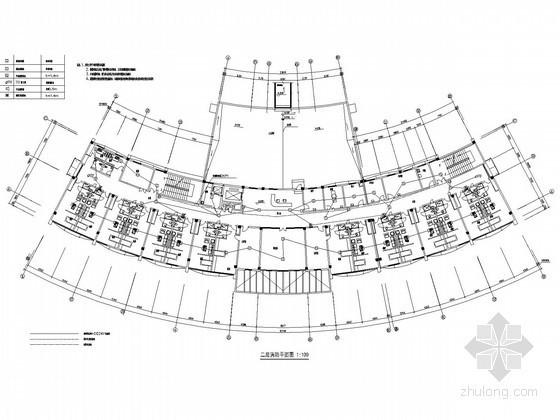 某中心医院康复中心及老干部病房楼电气施工图纸-二层消防平面图