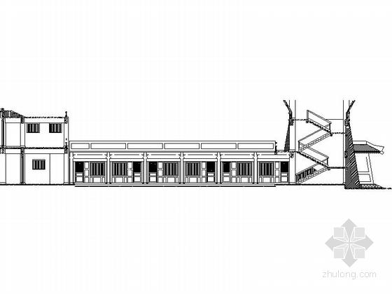 仿古3层单檐道学院剖面图
