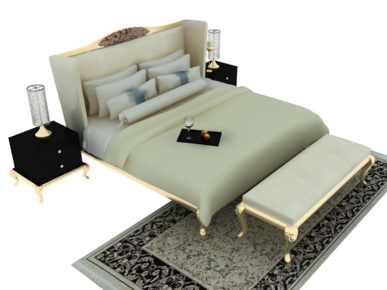 欧式简约双人床3D模型下载
