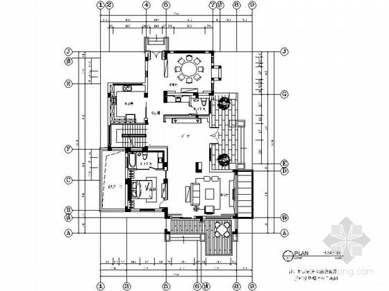 [江苏]某现代中式双层别墅室内装修施工图(含效果)
