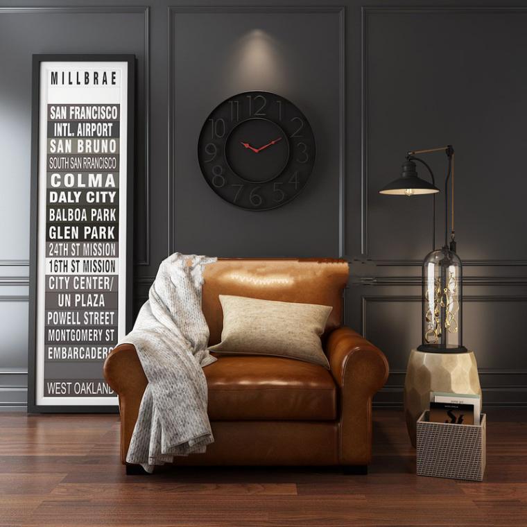 现代美式单人沙发场景3D模型