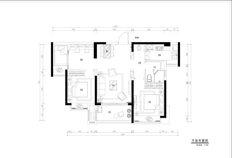 地中海风格三居室全套施工图设计(附效果图+3D模型)