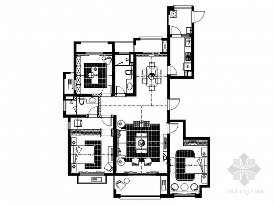[江苏]精致品质欧式公寓样板间施工图(含效果图)