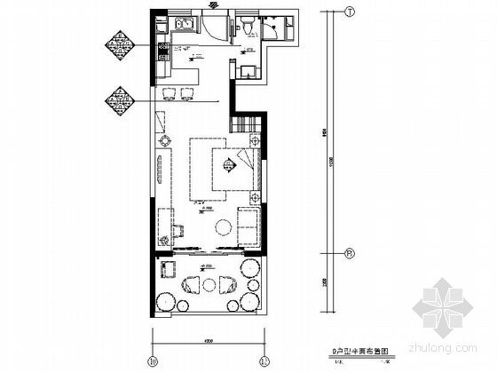 [上海]小型现代简约风格一居室室内装修施工图(含效果)