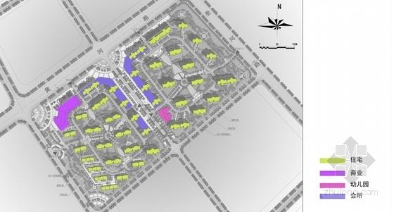 高层现代风格住宅区规划分析图