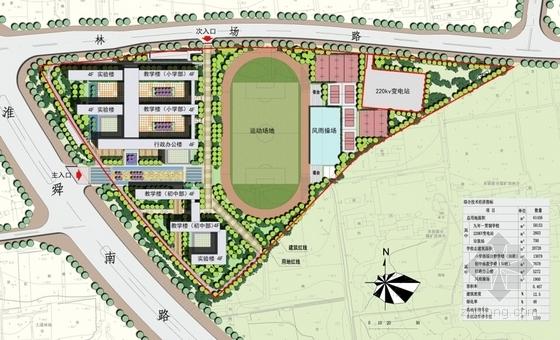 66班九年一贯制校园规划设计方案文本-66班九年一贯制校园规划设计总平面图
