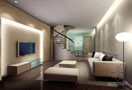 时尚现代单身公寓装修施工图(含效果图) 效果图