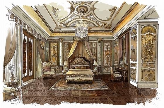 精品豪华欧式风格三层别墅室内装修施工图(含方案效果图)主卧效果图
