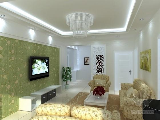 [江西]枢纽中心区现代三居室装修施工图(含效果)客厅效果图