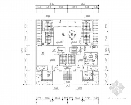 [北京]某四层叠拼别墅户型平面图(170、210平方米)