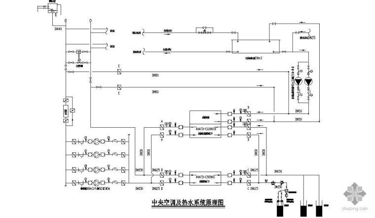 中央空调及热水系统原理图