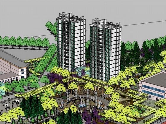 广场设计sketchup模型下载
