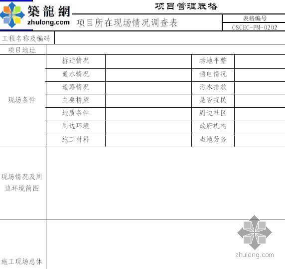 项目所在现场情况调查表