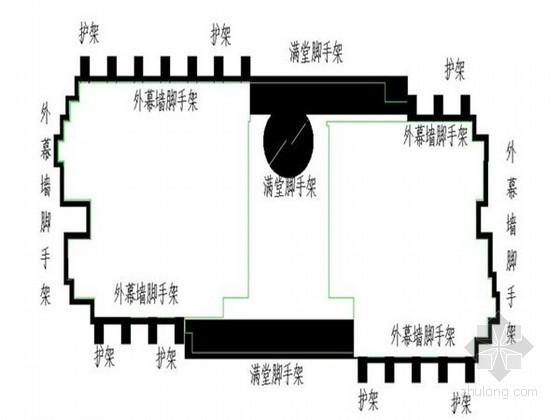 [湖南]高层框剪结构会展中心玻璃幕墙外脚手架施工方案(三排落地扣件式钢管脚手架)