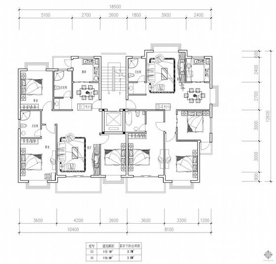 板式高层一梯两户户型图(112/110)
