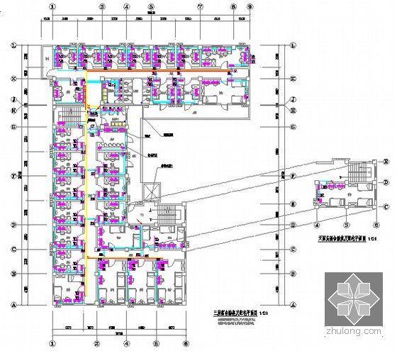 [广东]2015年医院宿舍楼装修工程预算书(附施工图纸)-05三层宿舍插座及配电平面图