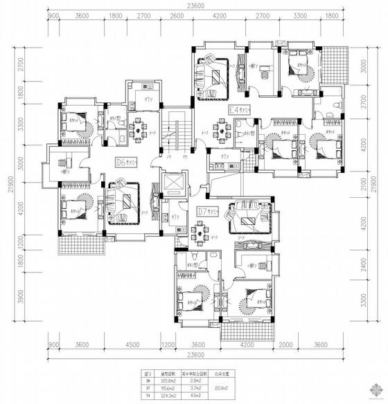 塔式高层一梯三户户型图(106/96/124)