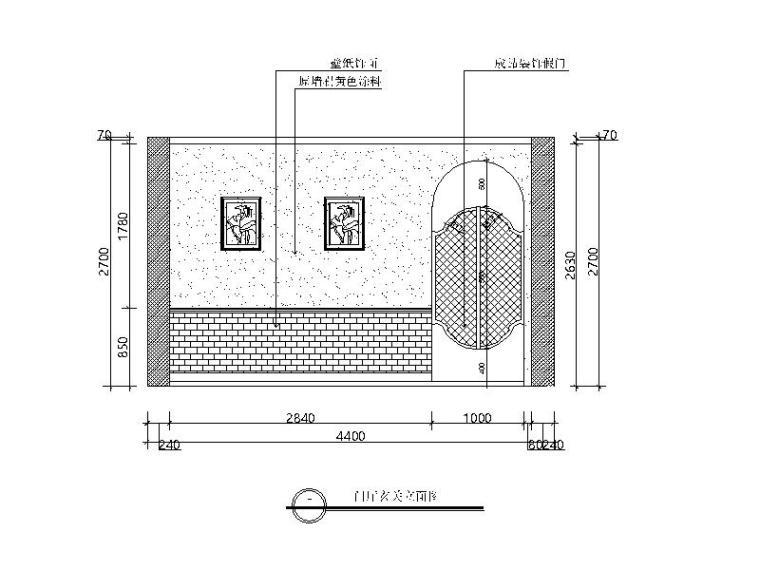 田园风格样板小屋设计CAD施工图(含效果图)立面图