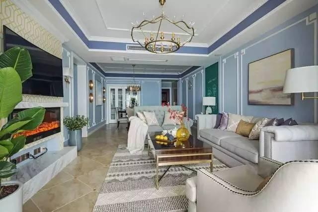 128平美式婚房装修,厨房隔出个生活阳台洗衣服,佩服!