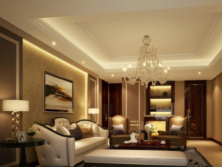 现代欧式客厅3D模型下载-现代欧式客厅