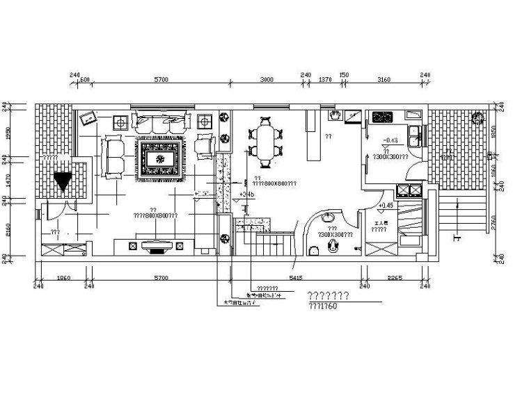 万科装饰三层住宅样板房设计平面图