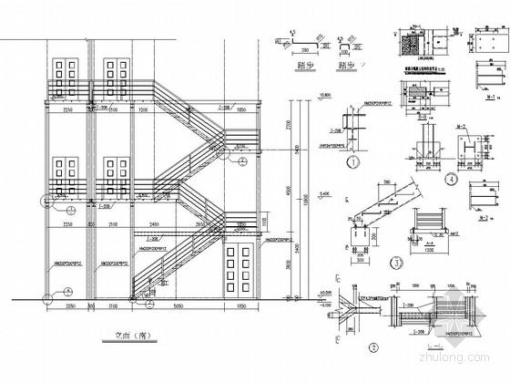 室外钢爬梯结构施工图