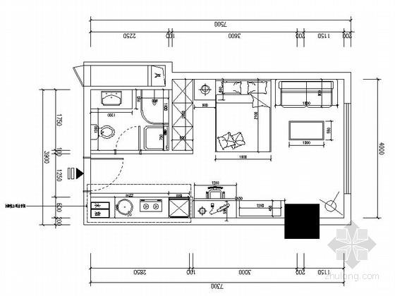 [西宁]花园洋房D户型现代一居室样板房设计施工图