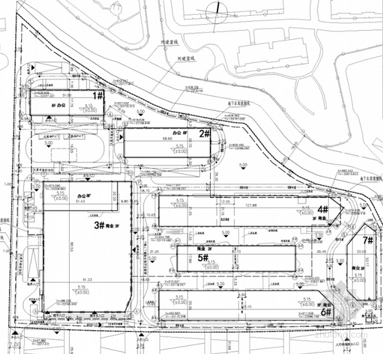 [上海]花园式大型现代风格商业广场设计方案文本-花园式大型现代风格商业广场总平面图
