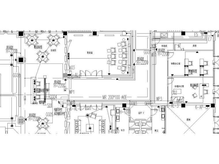 [广东]惠州建曙棕榈园会所强电和弱电设计电气图(东南亚风格)
