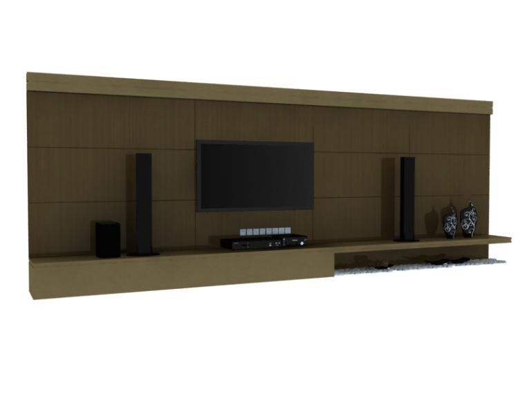 简约现代影视墙3D模型下载