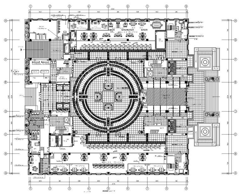 某银行办公大楼内部装修施工竣工图(附效果图)