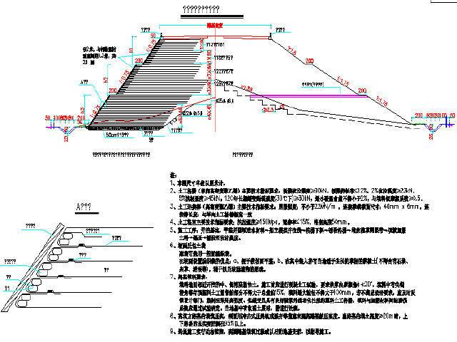 加筋土路基处理工程设计图(加筋陡坡)