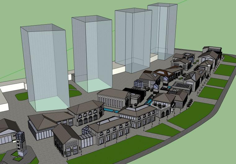 民国风格商业街建筑SU模型