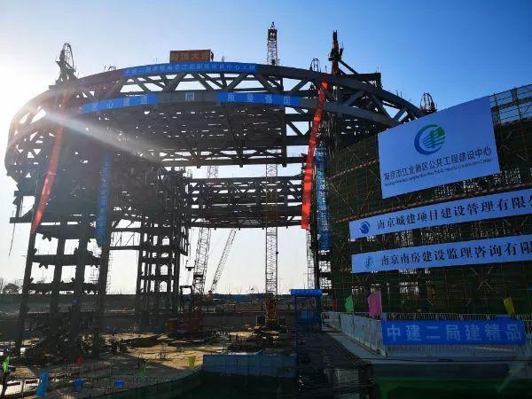 5300吨钢结构顺利提升,南京江北市民中心加冠创全国三项之首