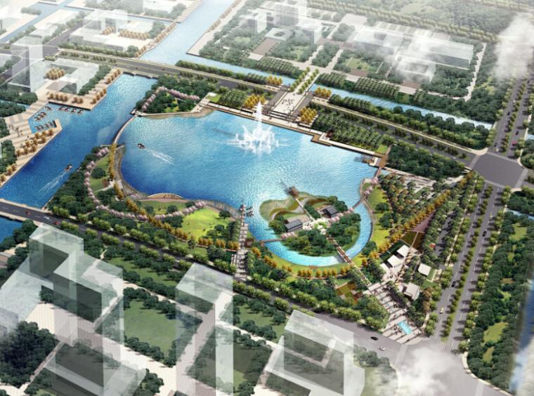 [上海]崇明中央城市公园景观方案设计(活力)-总体鸟瞰图