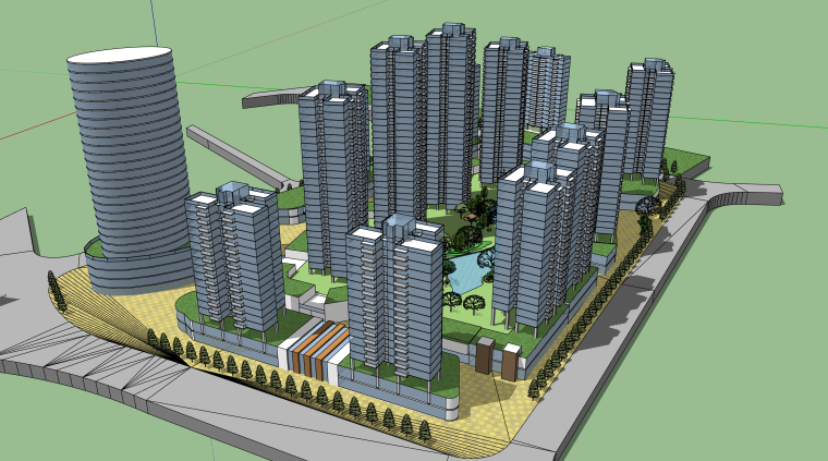 现代高层小区建筑设计模型
