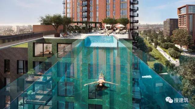 """27米长的""""空中泳池"""",在两栋大楼的第10层连接在一起,中间完全_3"""