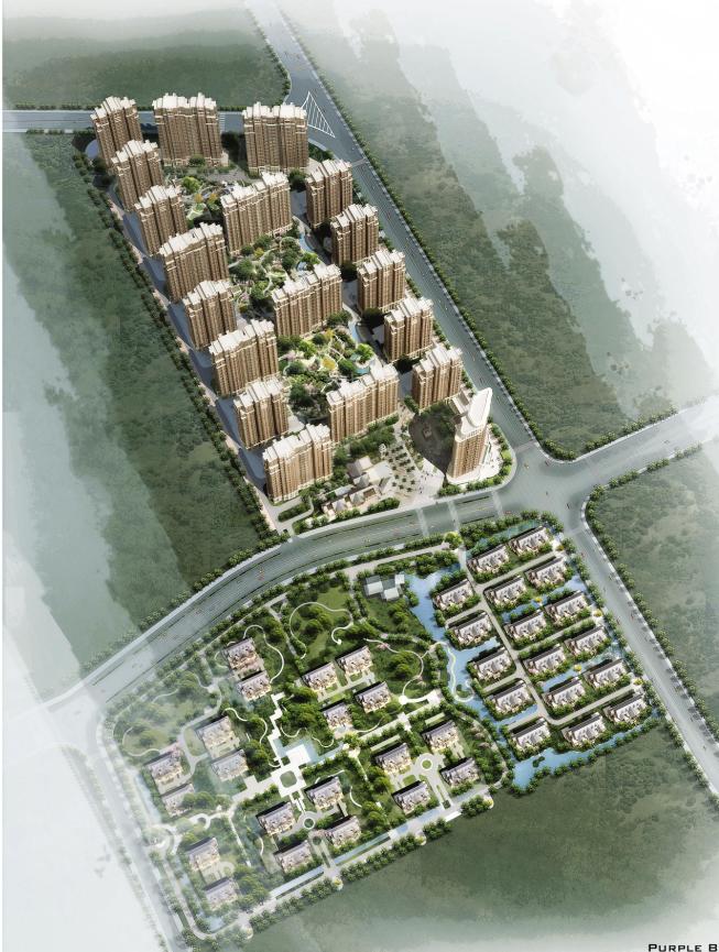 [湖南]高层塔式新中式风格住宅及商业、幼儿园建筑设计方案文本