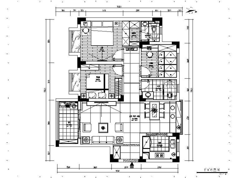 [杭州]简欧两居室设计施工图(含效果图)