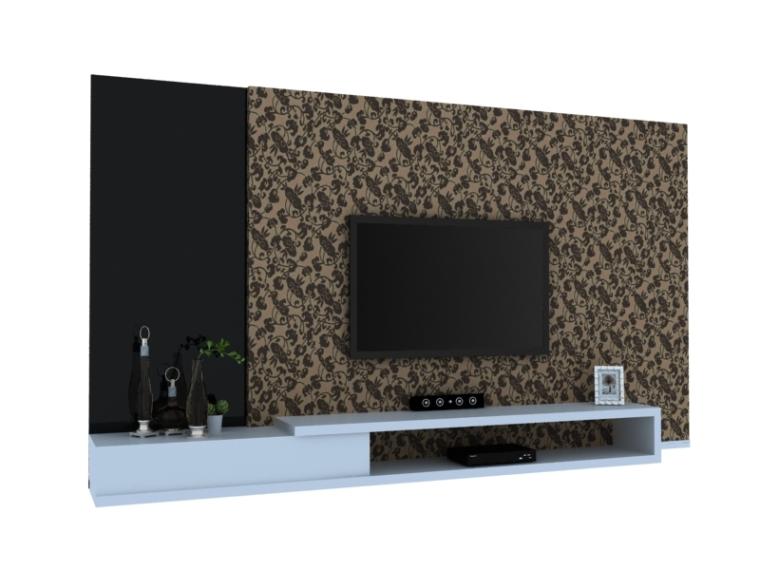 现代时尚电视墙3D模型下载