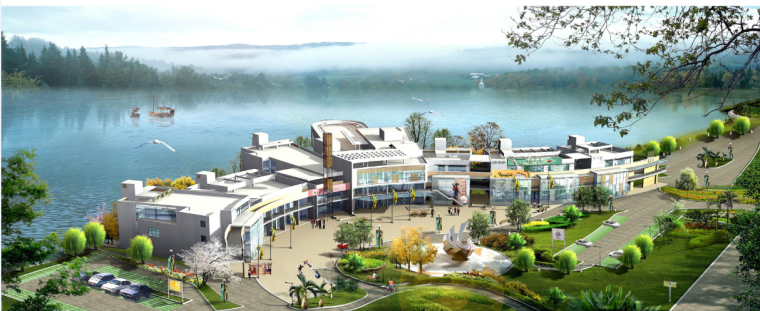 3层新中式商业街建筑施工图带效果图